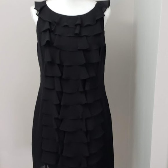 Adrianna Papell Dresses & Skirts - Adrianna Papell Black Ruffle Dress SZ12